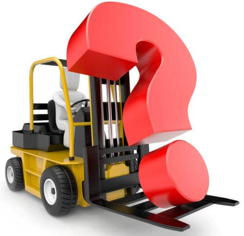 Conceptual image of a forklift carrying a question mark