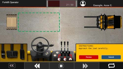 Screenshot of SafetySkills interactive forklift simulation