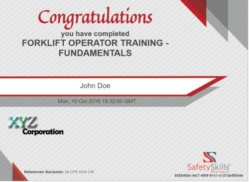 Certificate showing completion of SafetySkills Forklift Operator Training - Fundamentals