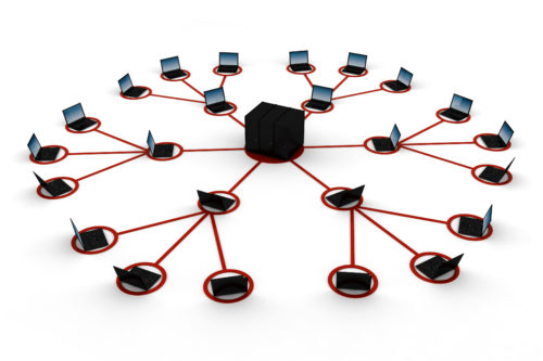 Conceptual image of a server delivering content to a global network of computers