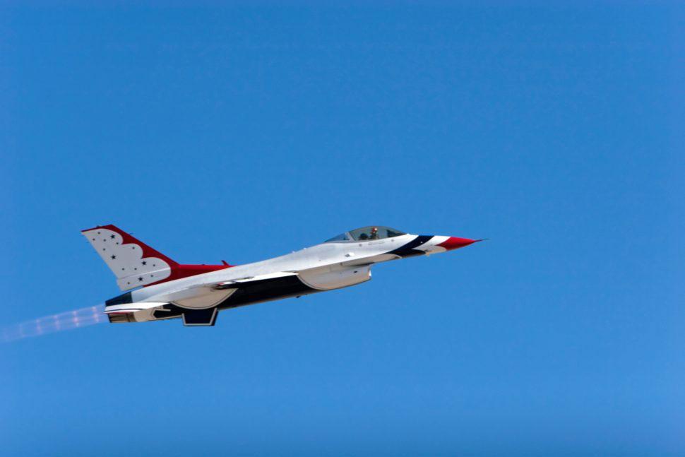 F-16 fighter jet in flight