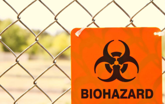 Anthrax biohazard sign on a fence