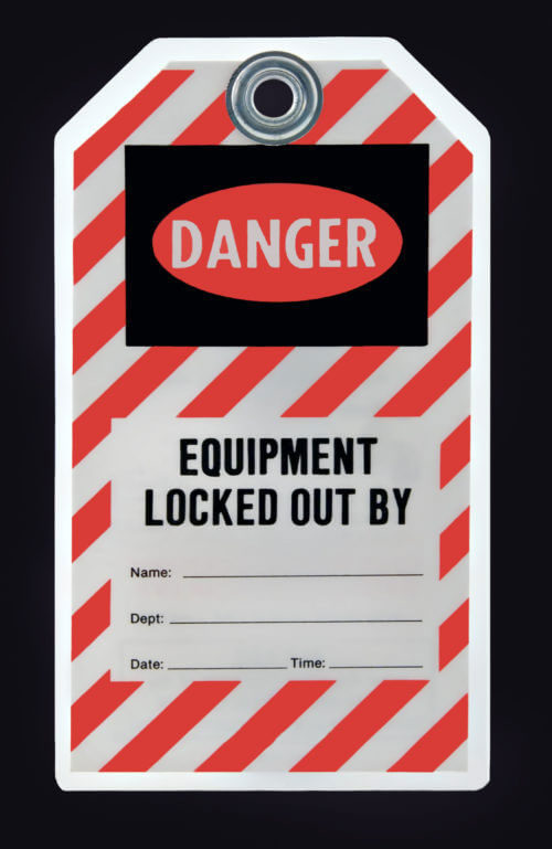 Tag warning that equipment has been locked out