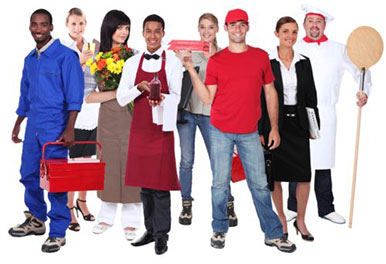 Diverse group of workers dressed for different types of jobs