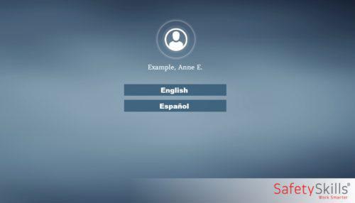 Screen shot of SafetySkills course language selector screen
