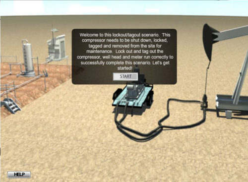Screen shot of SafetySkills oil and gas lockout/tagout simulation