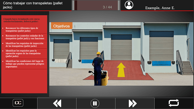 Screen shot of pallet jack safety with course controls