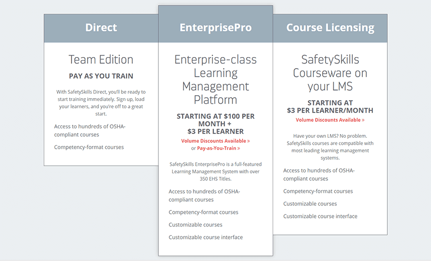 SafetySkills LMS Pricing Options