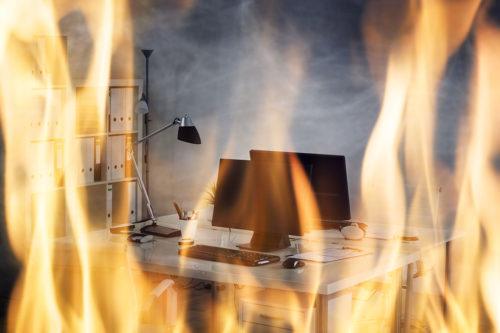 Fire Burning Inside The Office