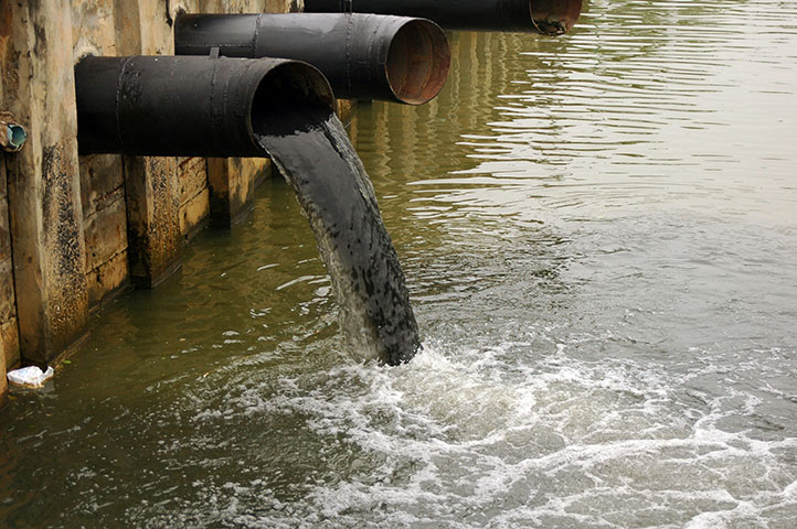 Pipe exporting water pollution