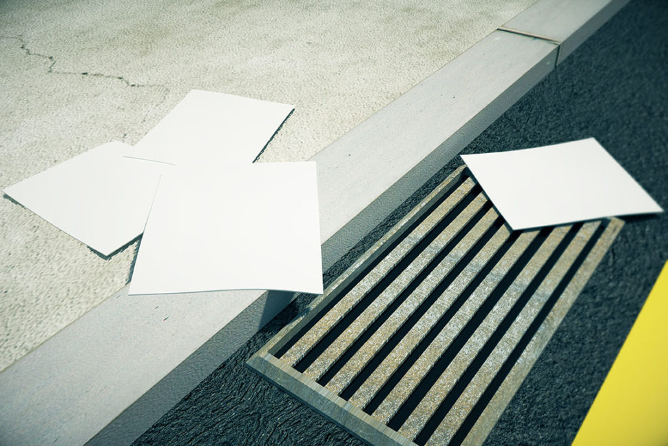 White papers on city pavement