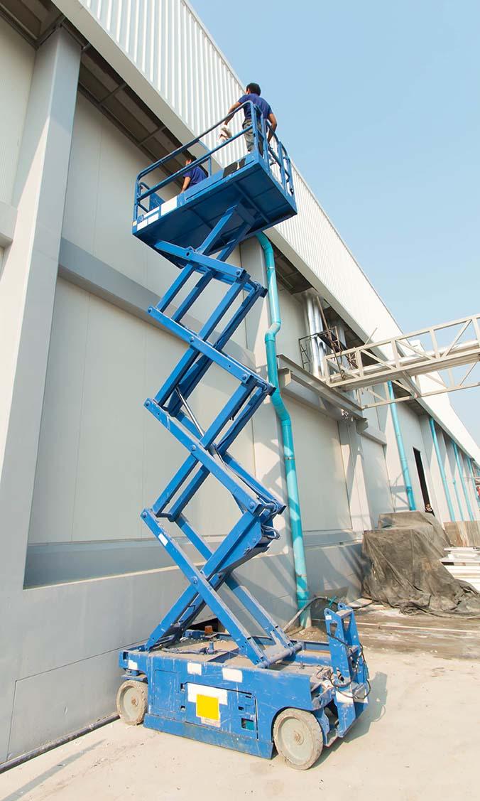 blue scissor lift