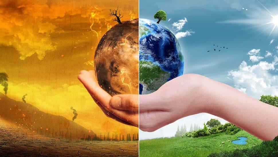 Half polluted, half green earth