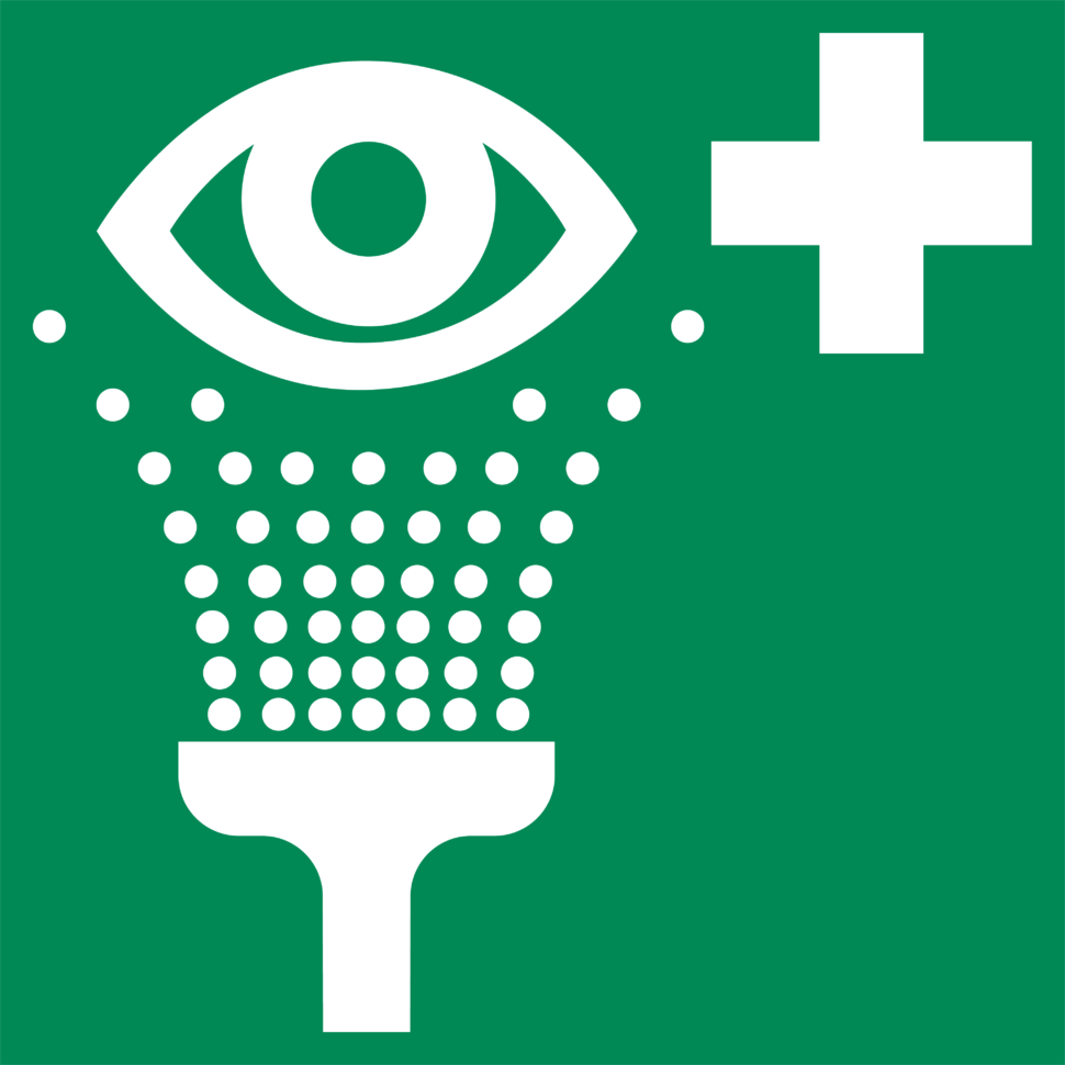 Green eyewash station signage