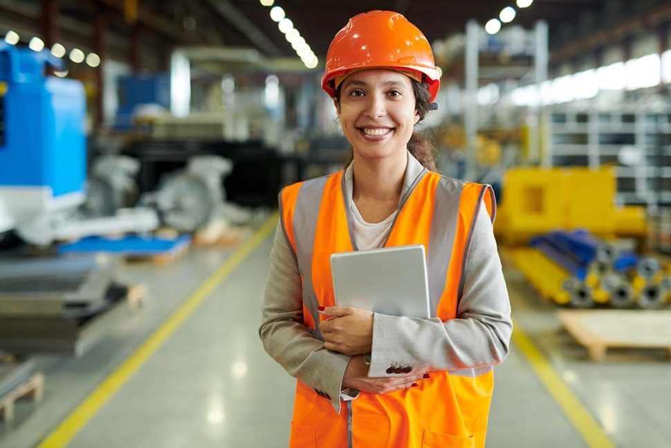 Female manufacturing employee portrait