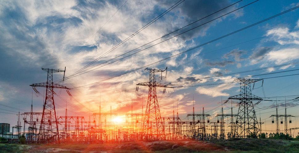 Sunset image of electric substation