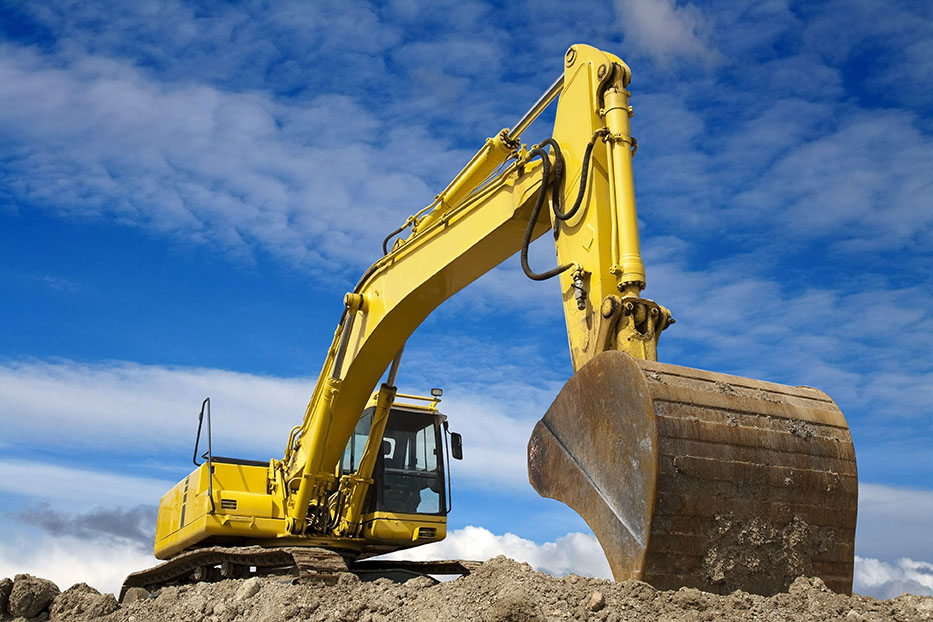 Excavator working on protective sytem