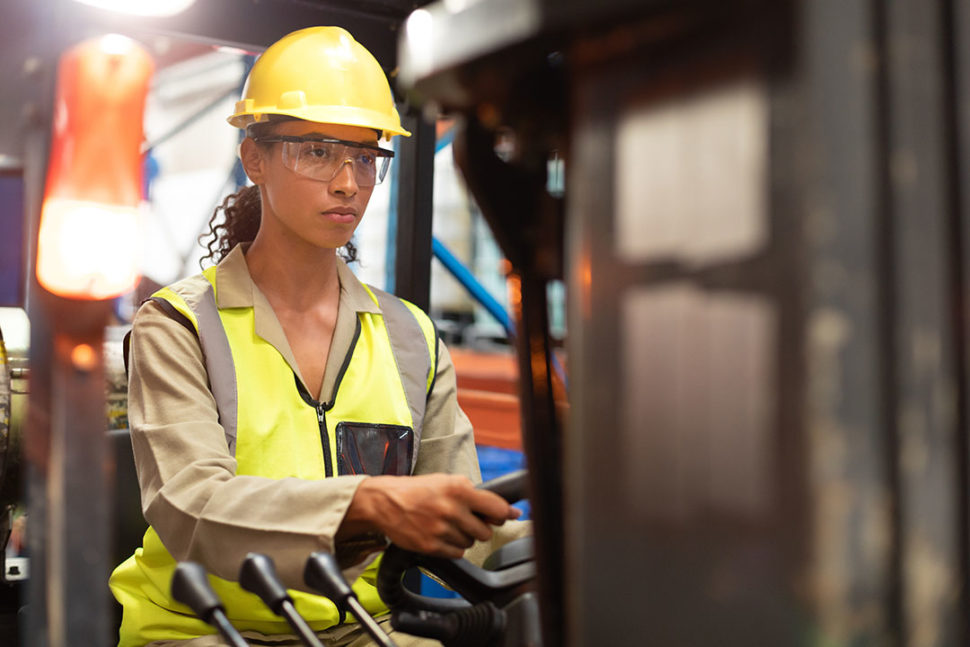 Female wearing safety glasses as ppe
