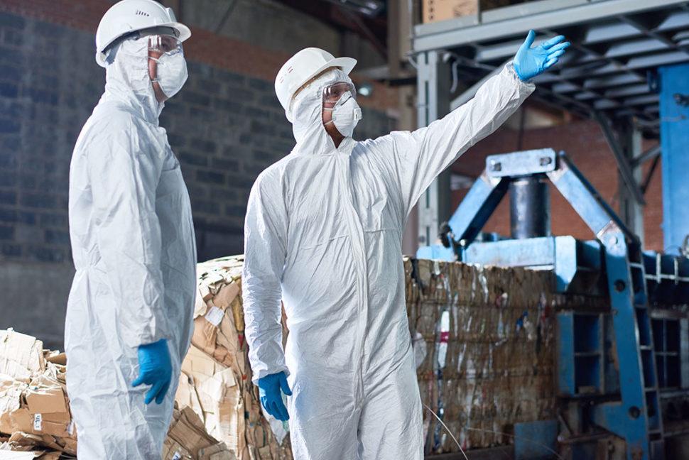 Workers in Hazmat Suits PPE