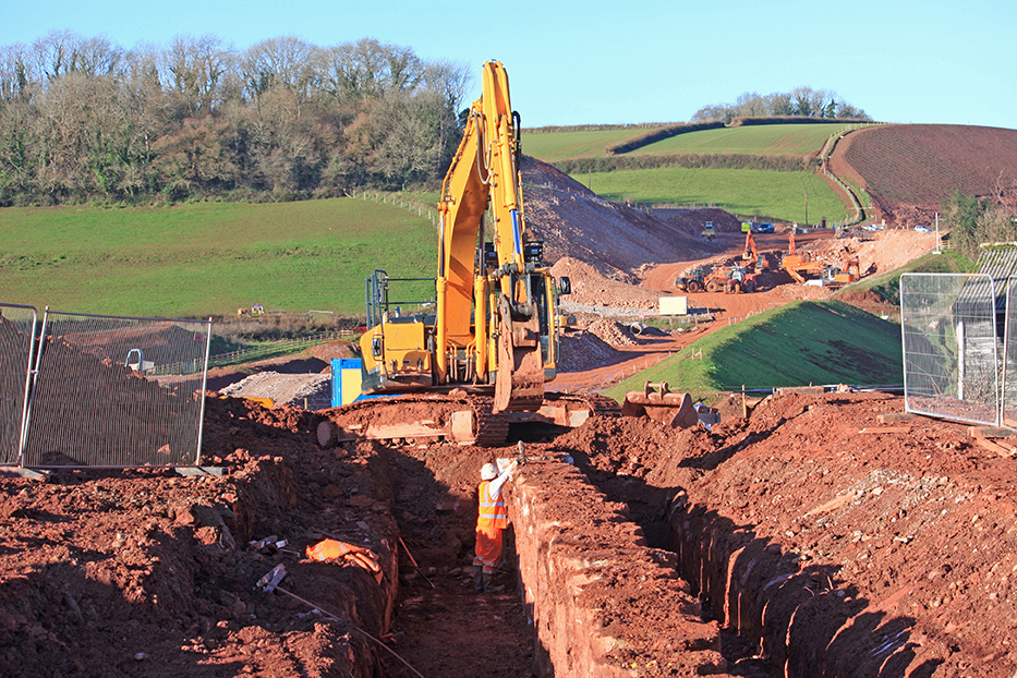 Excavation site with trench.