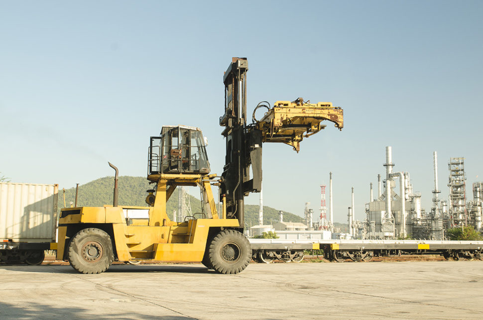 Forklift on oil and gas site