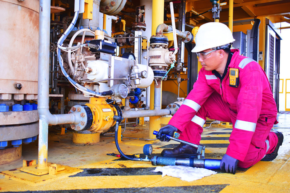 Oil and gas worker wearing PPE