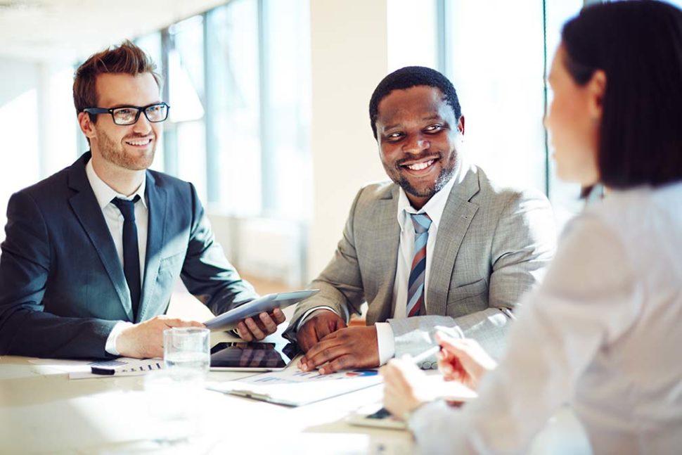 Employees communicating soft skills