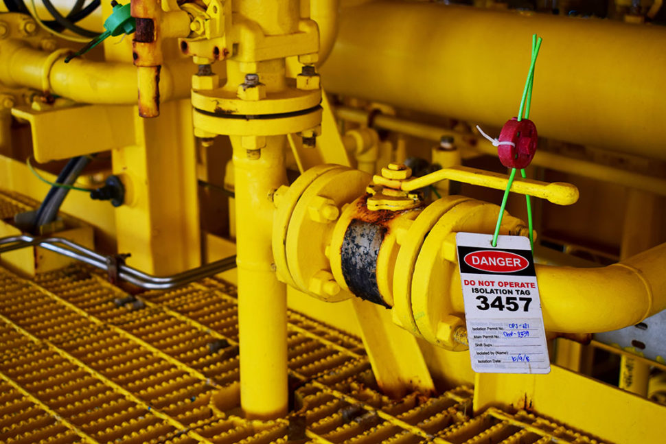 Gas valve lockout/tagout