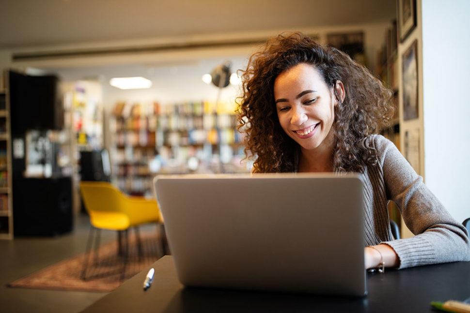 Student taking online training