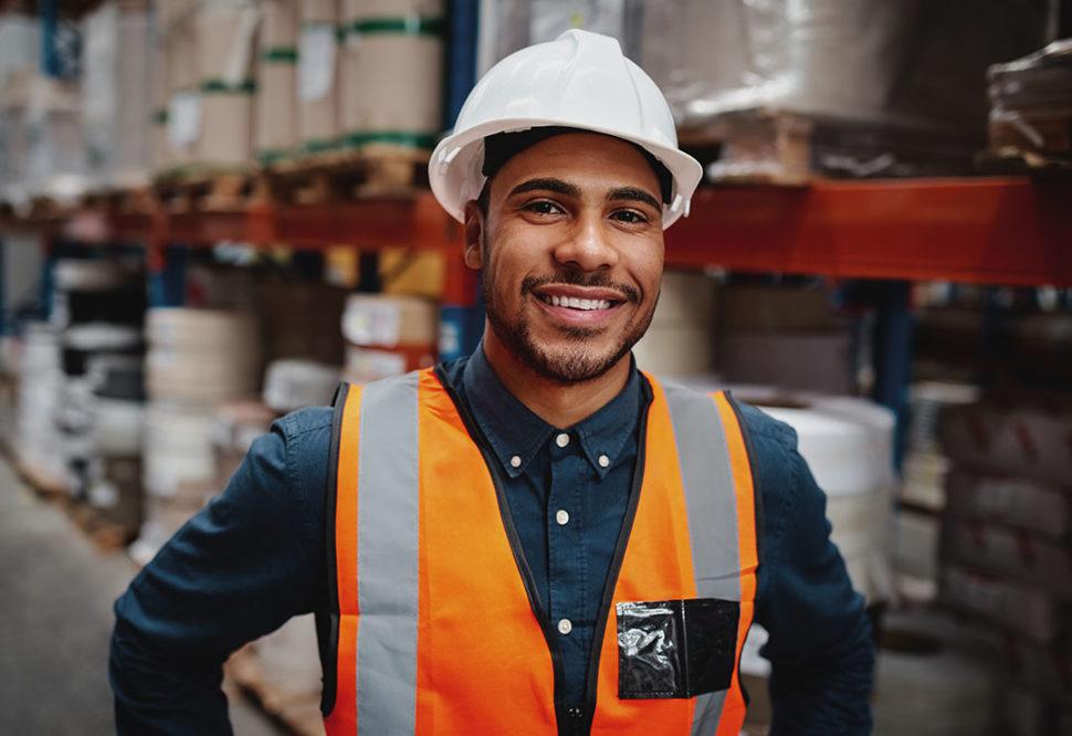 Employee wearing PPE