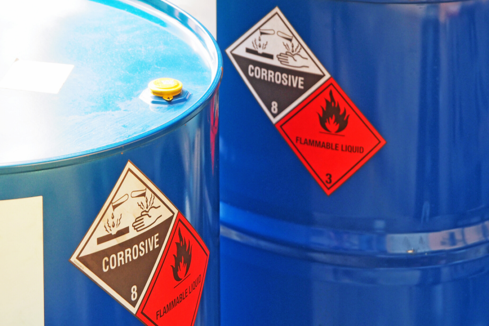 Corrosive and flammable symbols