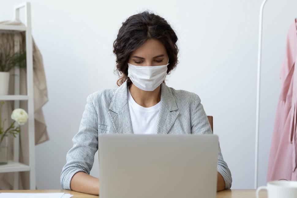 Business woman wearing mask