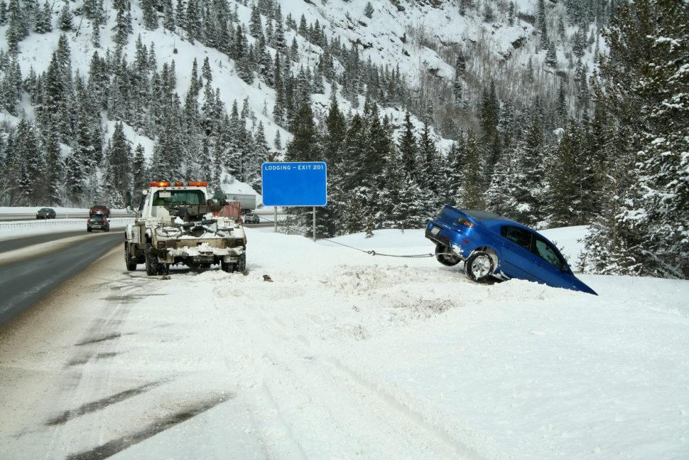 Car in snow bank
