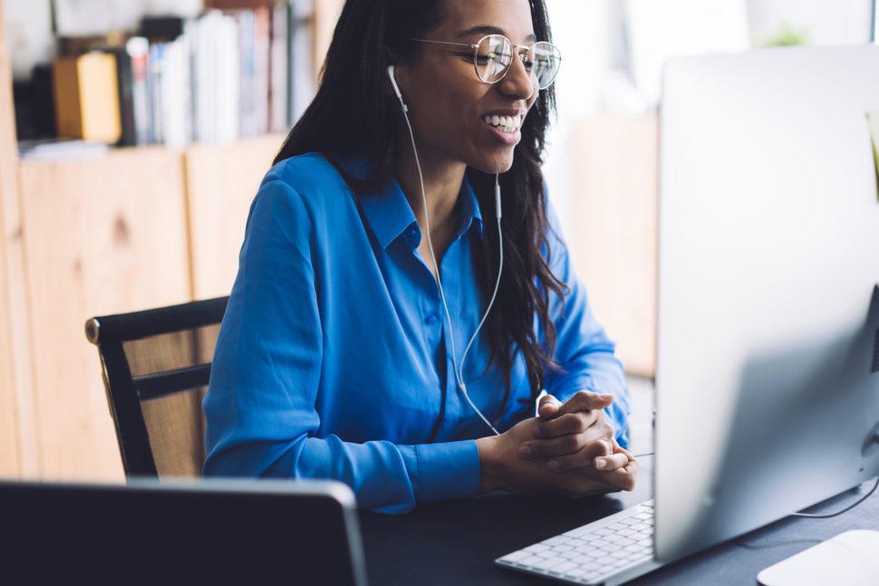 Female student taking online safety training