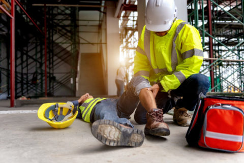 Injured employee on worksite