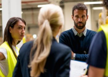 Employee toolbox talk meeting before work